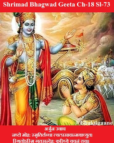 Shrimad Bhagwad Geeta Chapter-18 Sloka-73 Nashto Mohah Smrtirlabdha Tvatprasaadaanmayaachyut.
